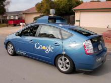 A self driving car from http://4.bp.blogspot.com/-UdDbkh0tHzQ/ULAKlpij_UI/AAAAAAAADPI/r66fdyU6nck/s1600/Google-Self-Driving-Car-Nevada-USA-2012.jpg